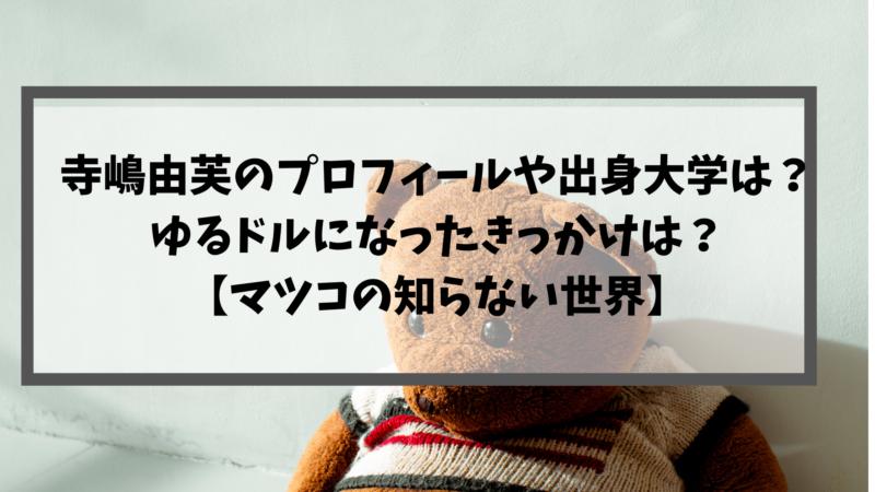 寺嶋由芙のプロフィールや出身大学は?ゆるドルになったきっかけは?【マツコの知らない世界】